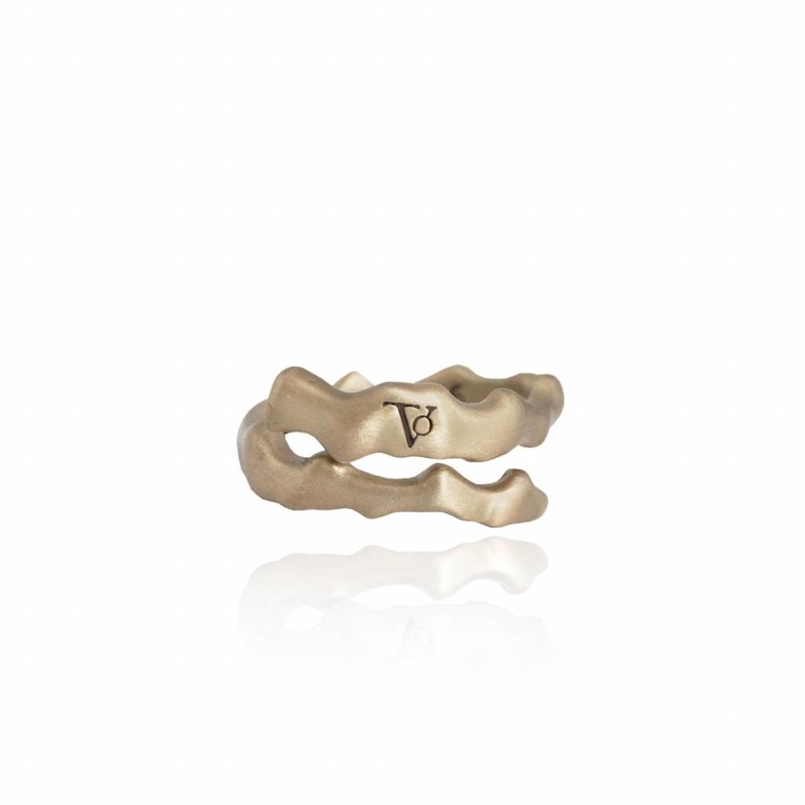 Oak twig ring - brass