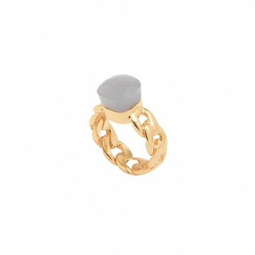Braided chain stone ring - Gold/ Grey quartz