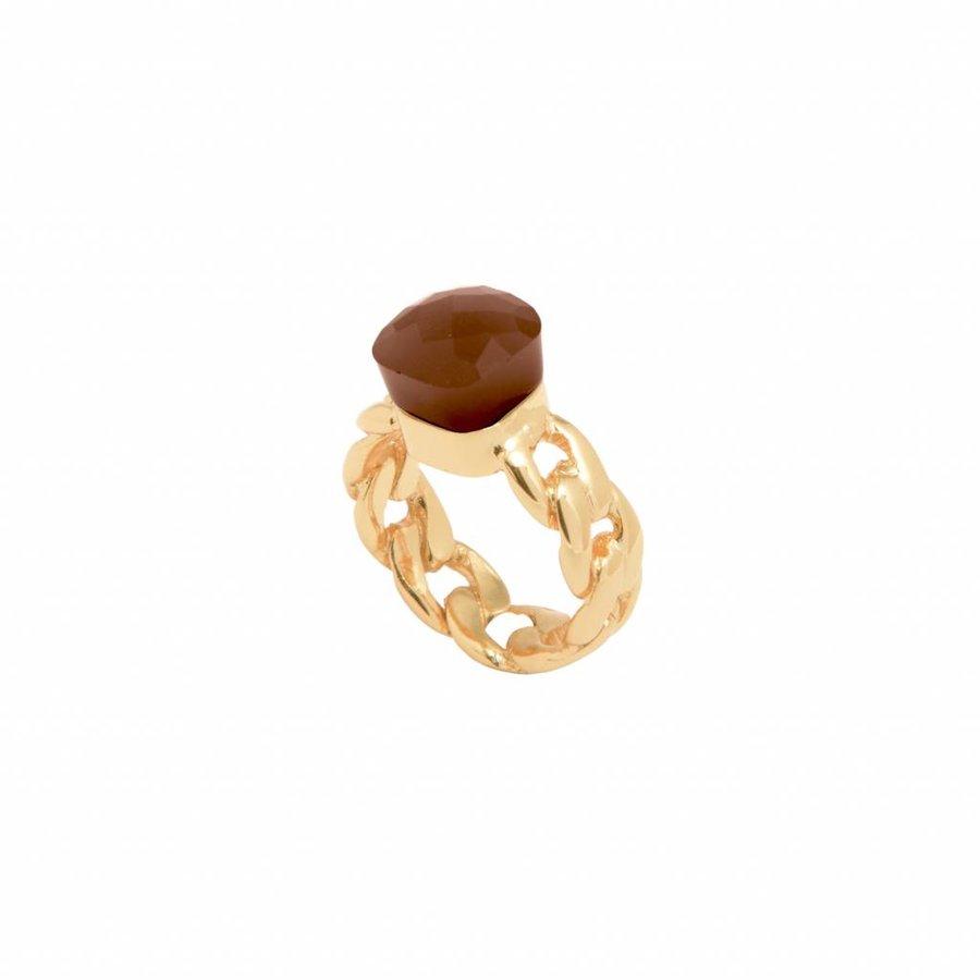 Braided chain stone ring - Gold/ Smoke quartz