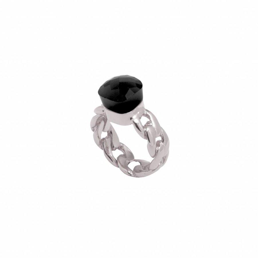 Braided chain stone ring - White gold/ Onyx