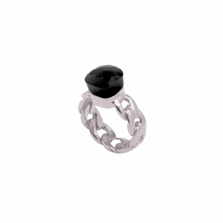Braided chain stone ring - Wit goud/ Onyx
