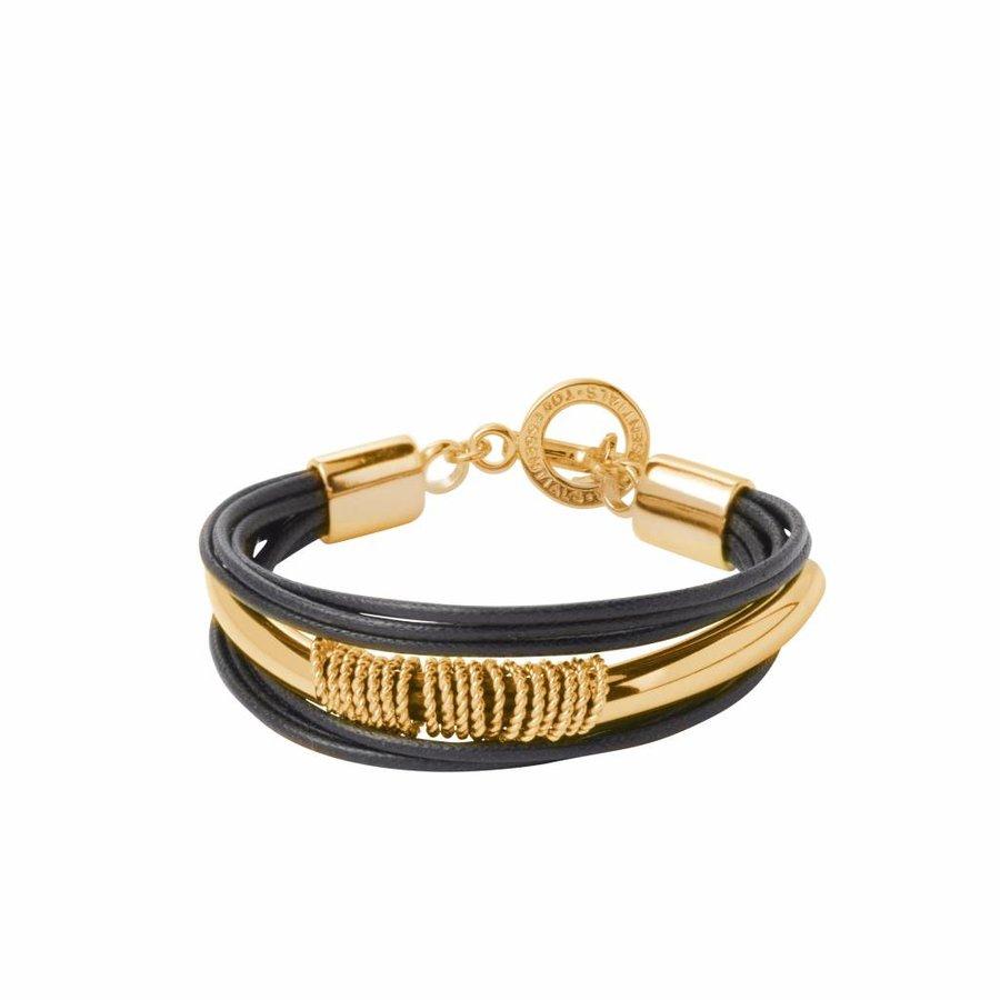 Multi ring cord bracelet - Gold/ Black