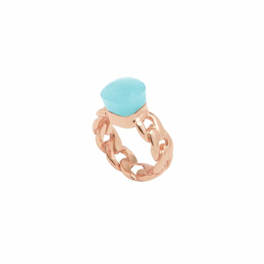 Braided chain stone ring- Rose/ Aqua green