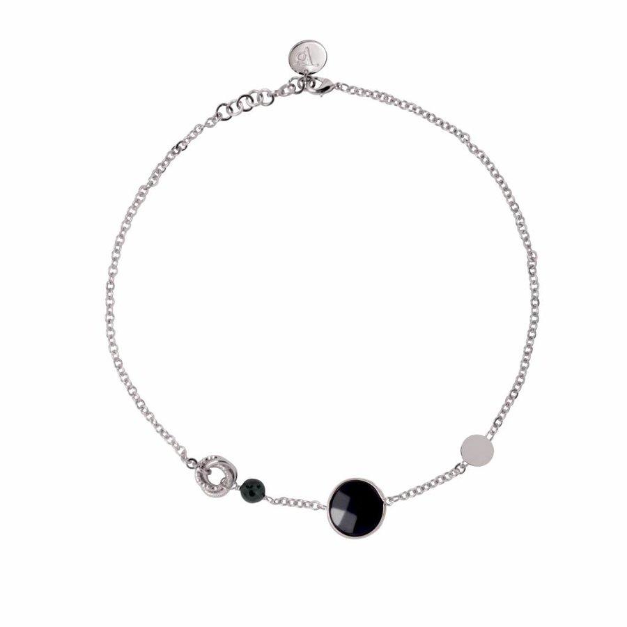 Mystic multi necklace - White gold /Onyx