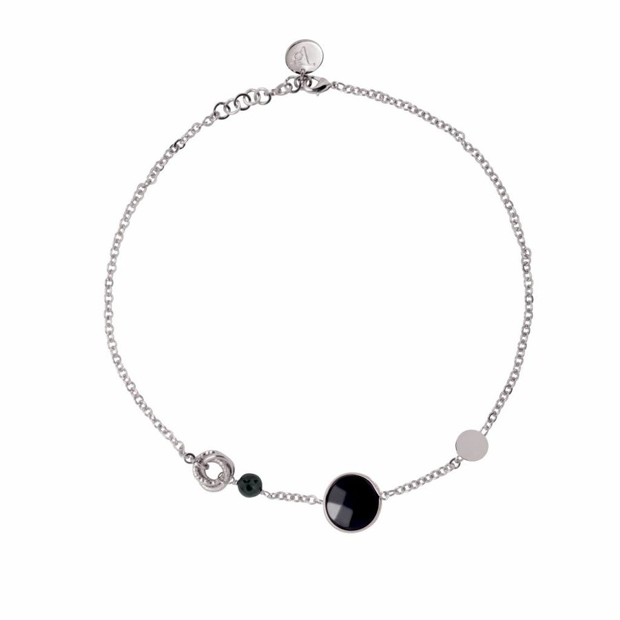 Mystic multi necklace - Wit goud/ Onyx