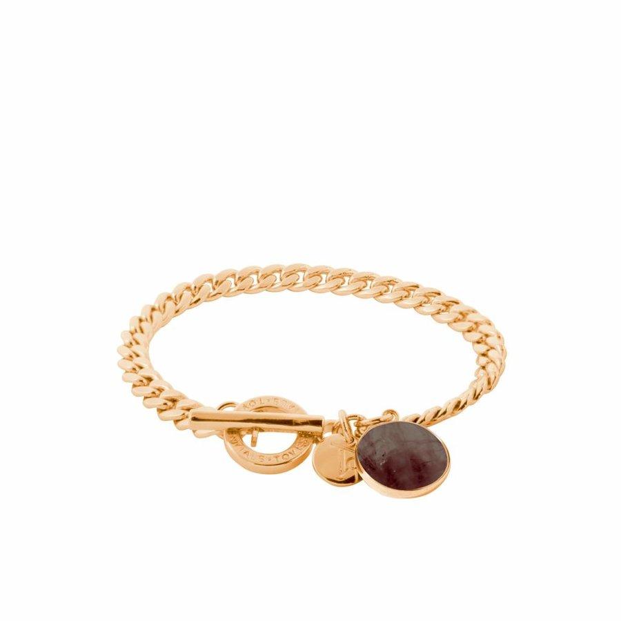 Mystic flatchain bracelet - Gold/ Smoke Quartz