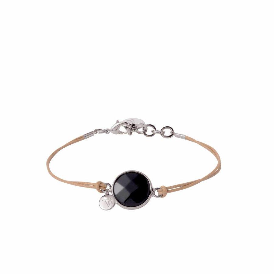 Mystic cord - Armband - Wit goud/ Onyx