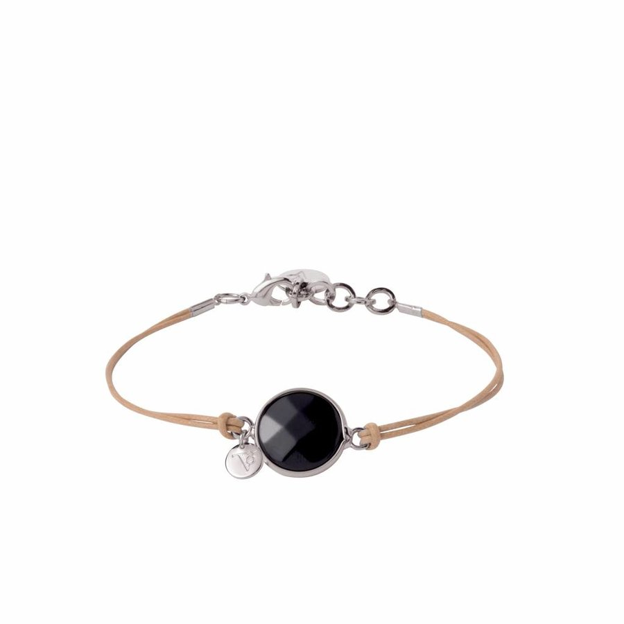 Mystic cord bracelet - white gold/ onyx