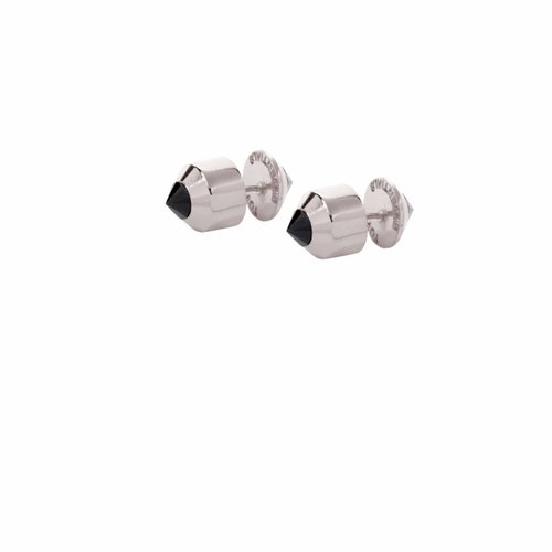 Double pyramid earring - White gold/ Onyx