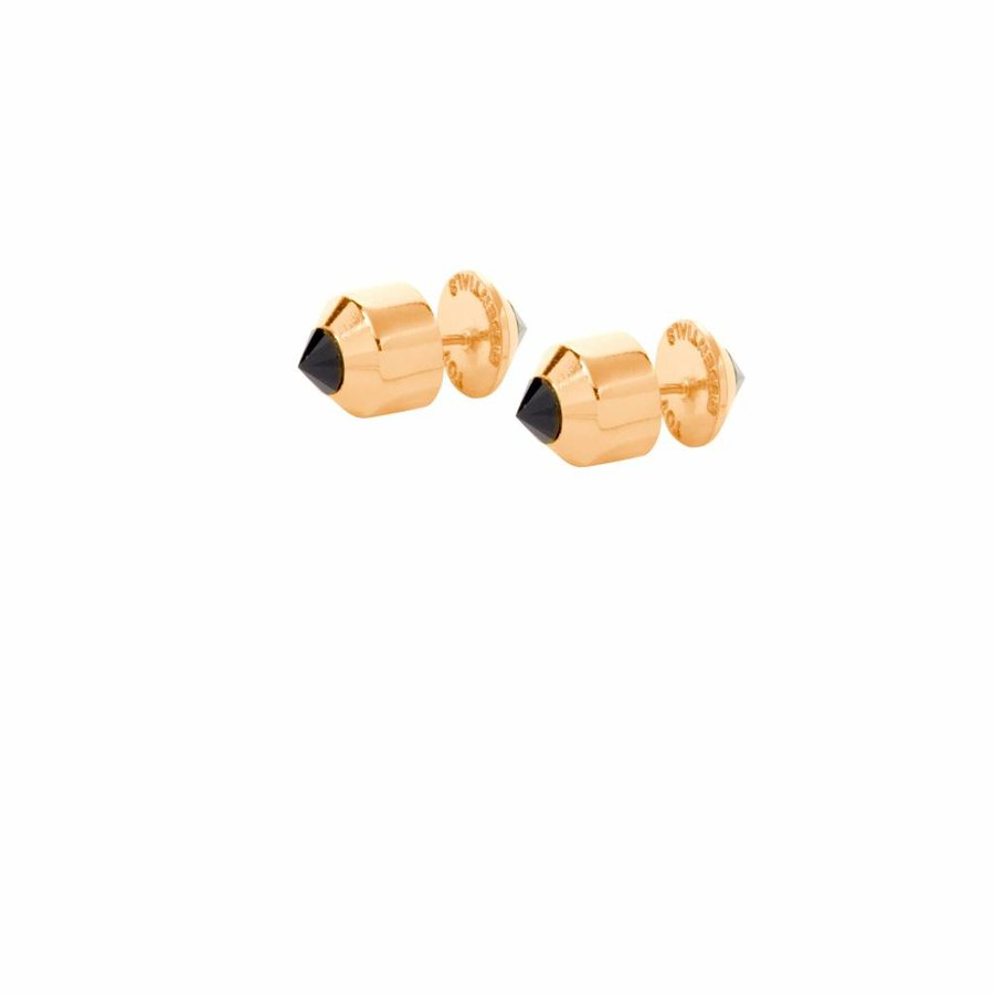 Double pyramid earring - Gold Onyx