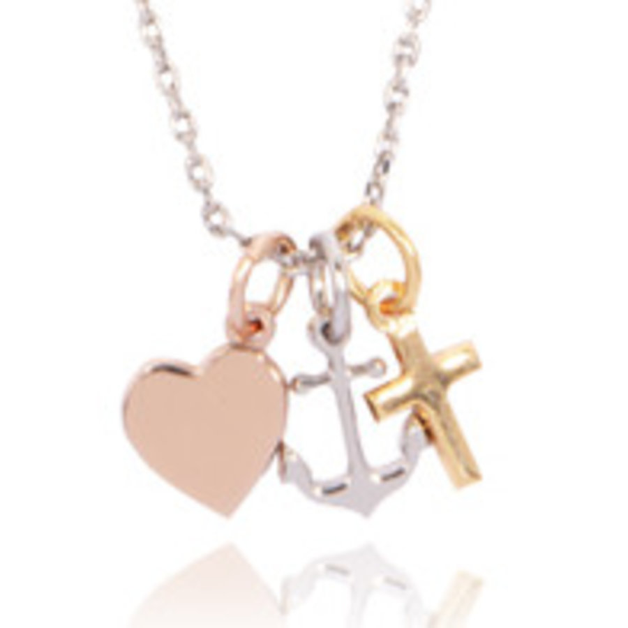 Hope.Love.Faith short necklace tri colori -