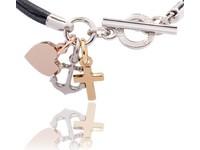 Hope.Love.faith cord bracelet tri colori -
