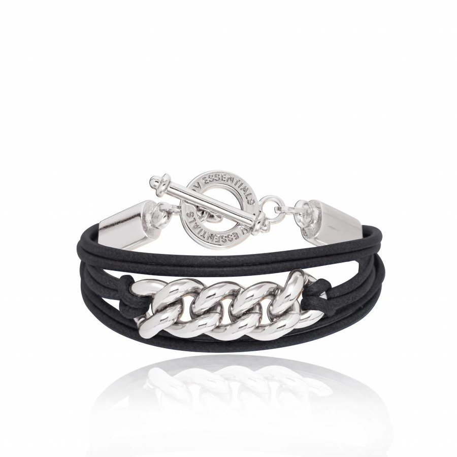 Lots of cords chain bracelets - Silver/ Black