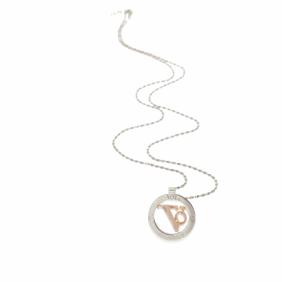 TOV medallion 85 cm necklace - Silver/ Rose