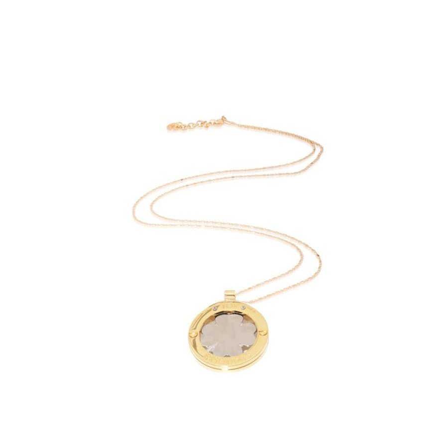 4 leaf bi colour medaillion necklace - Gold/ Silver