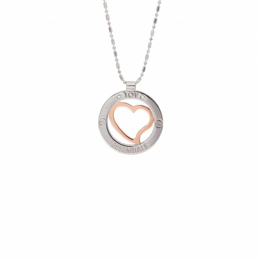 Heart bi colour medaillon - Rose/ White gold