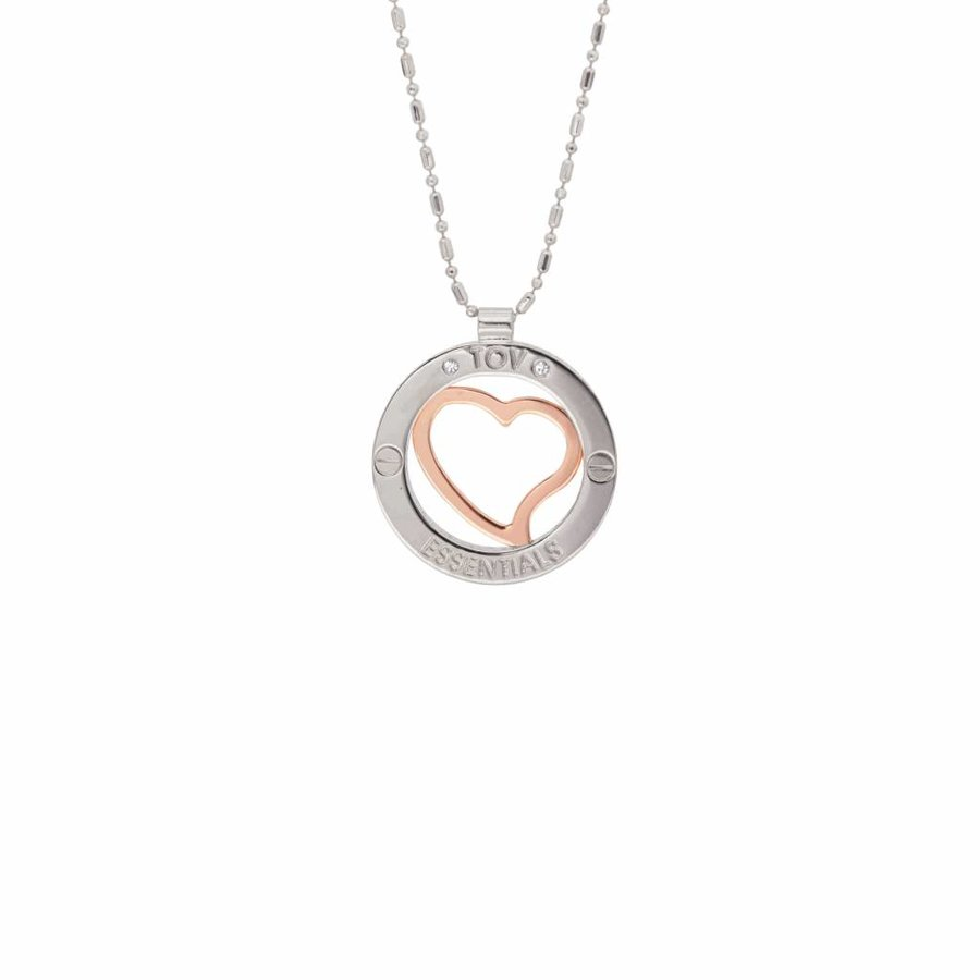 Heart bi colour medaillon - White gold/ Rose