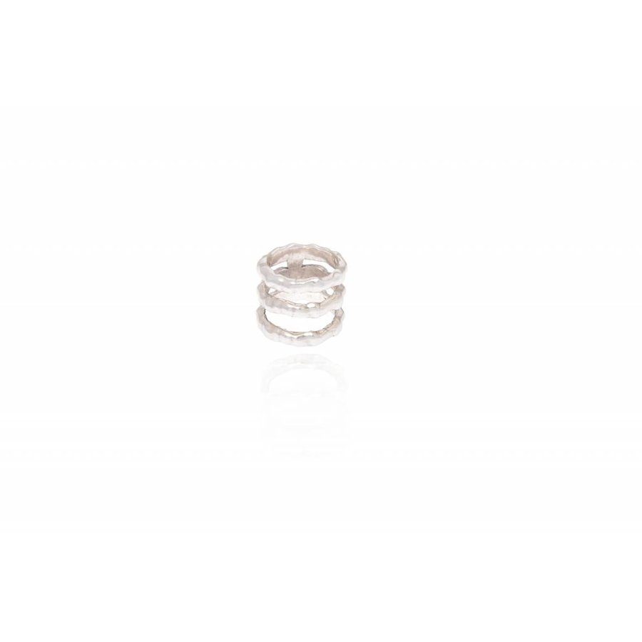 Oak 3 row ring - Silver plated