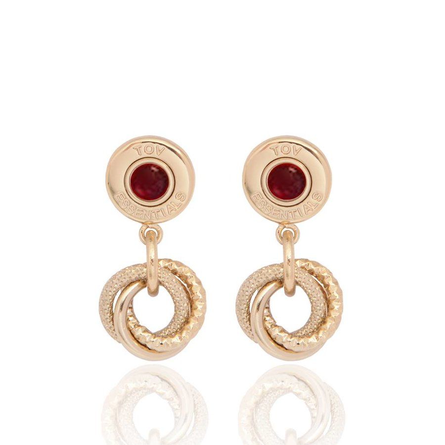 3 rings & gemstone earring - light gold - red