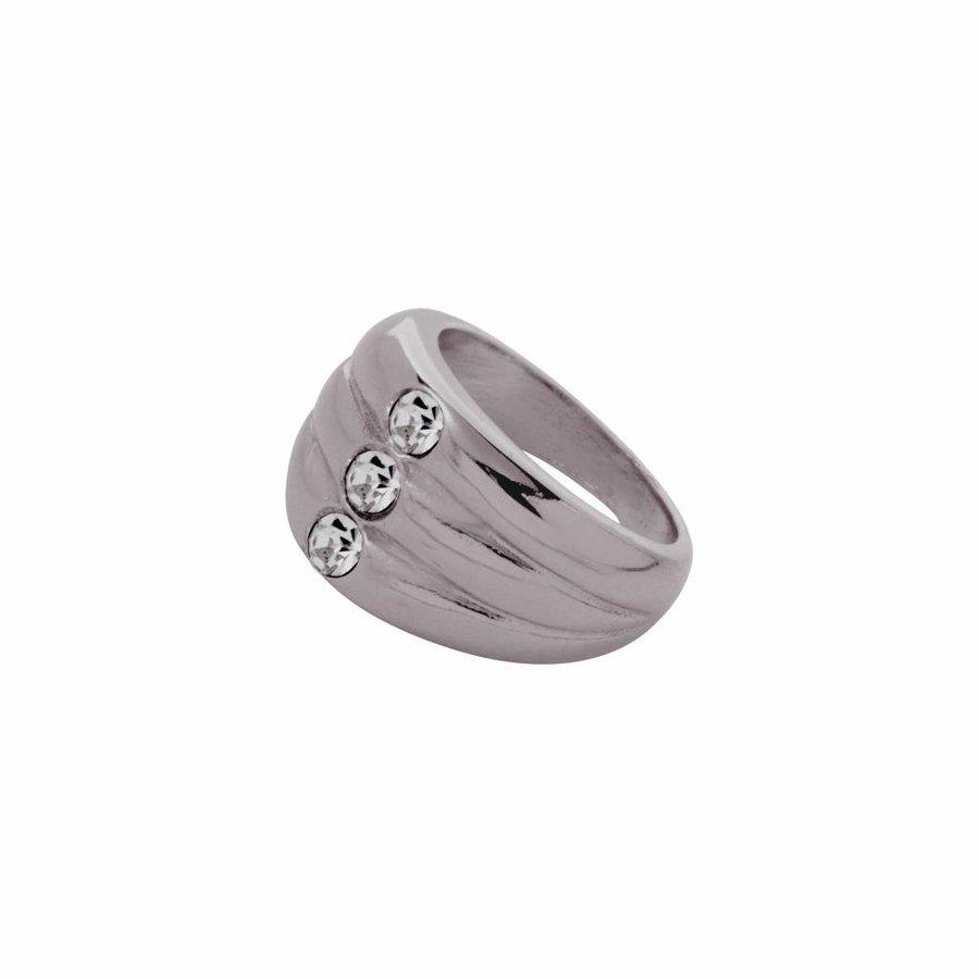 Layered stone ring - Gun metal/ Black diamond