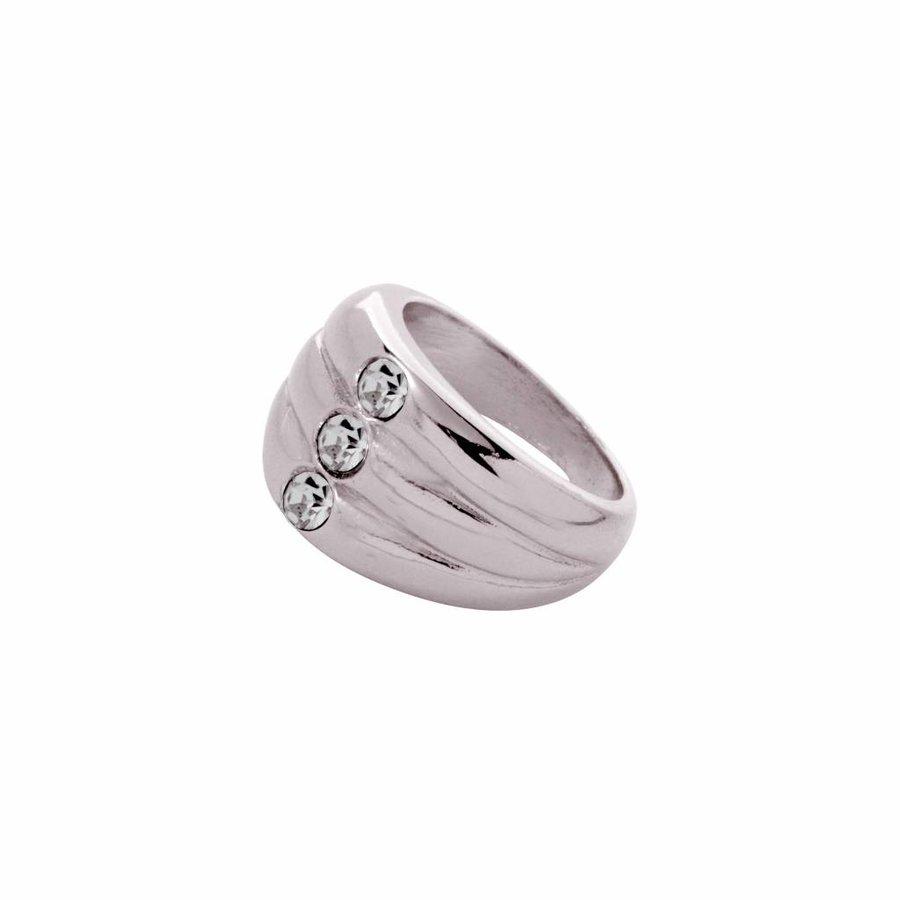 Layered stone ring - Wit goud/ Zwart diamond