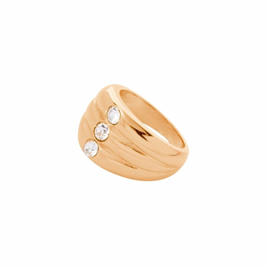 Layered stone ring - Gold/ Crystal