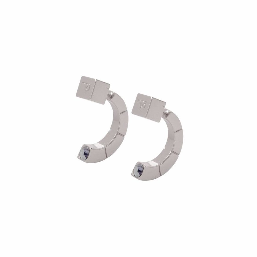 Phoenix earring - White gold/ Black diamont