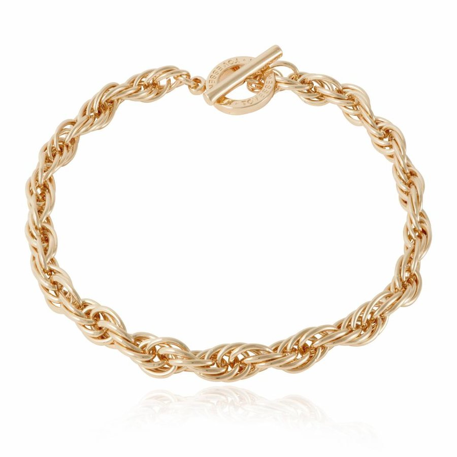 Small twisted chain collier - light gold