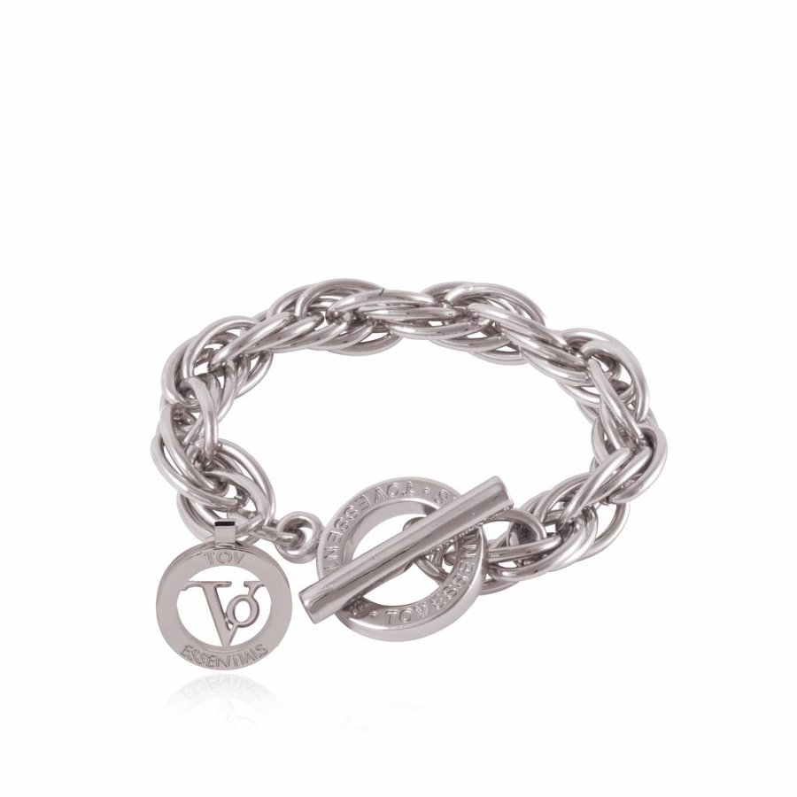 Small twisted chain armband - Zilver