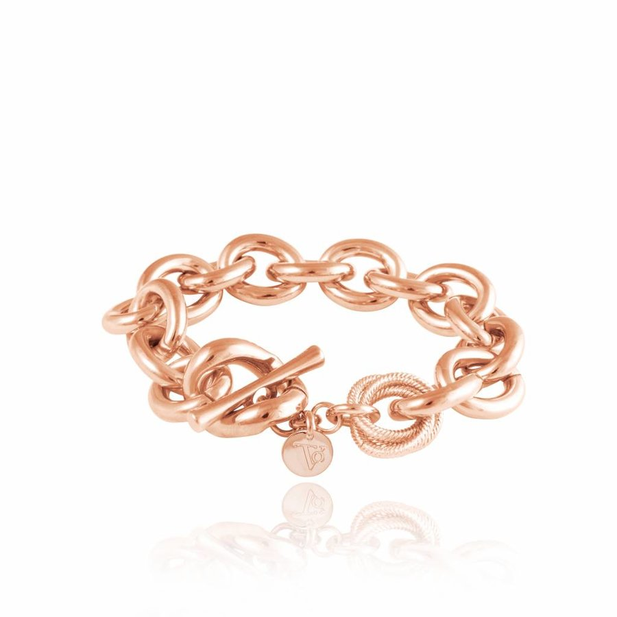 Small oval gourmet bracelet - Rose