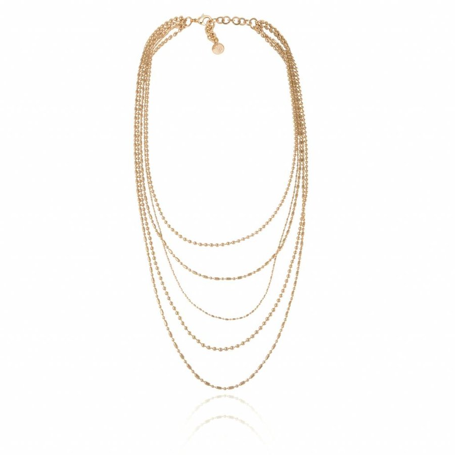 Ball chain layer necklace - Light Gold