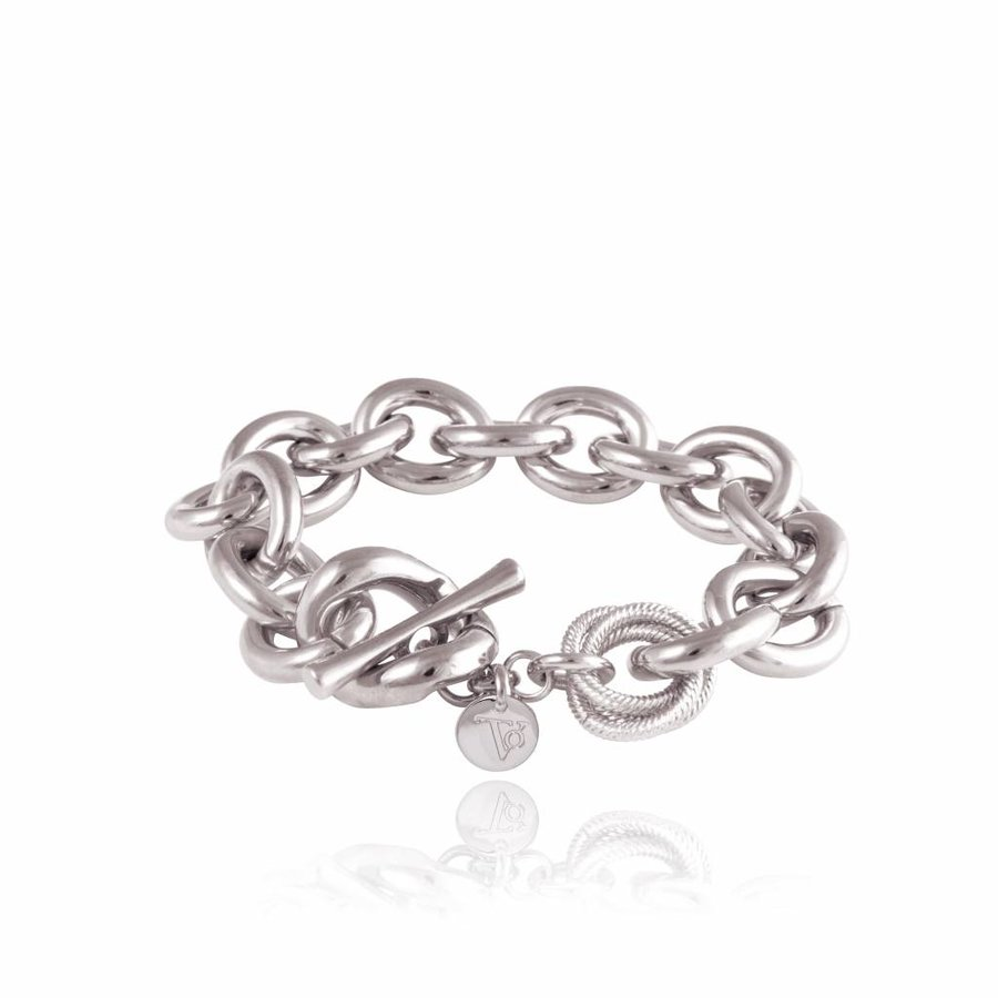 Small oval gourmet bracelet - White gold