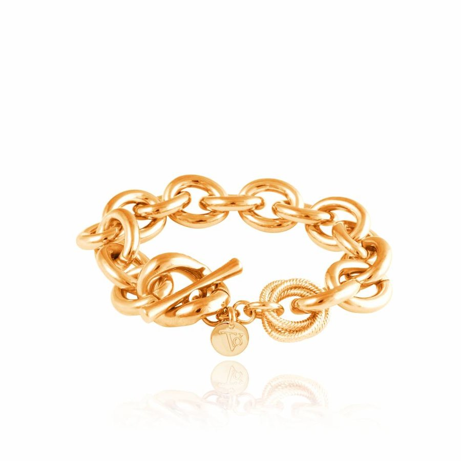 Small oval Gourmet - Armband - Goud