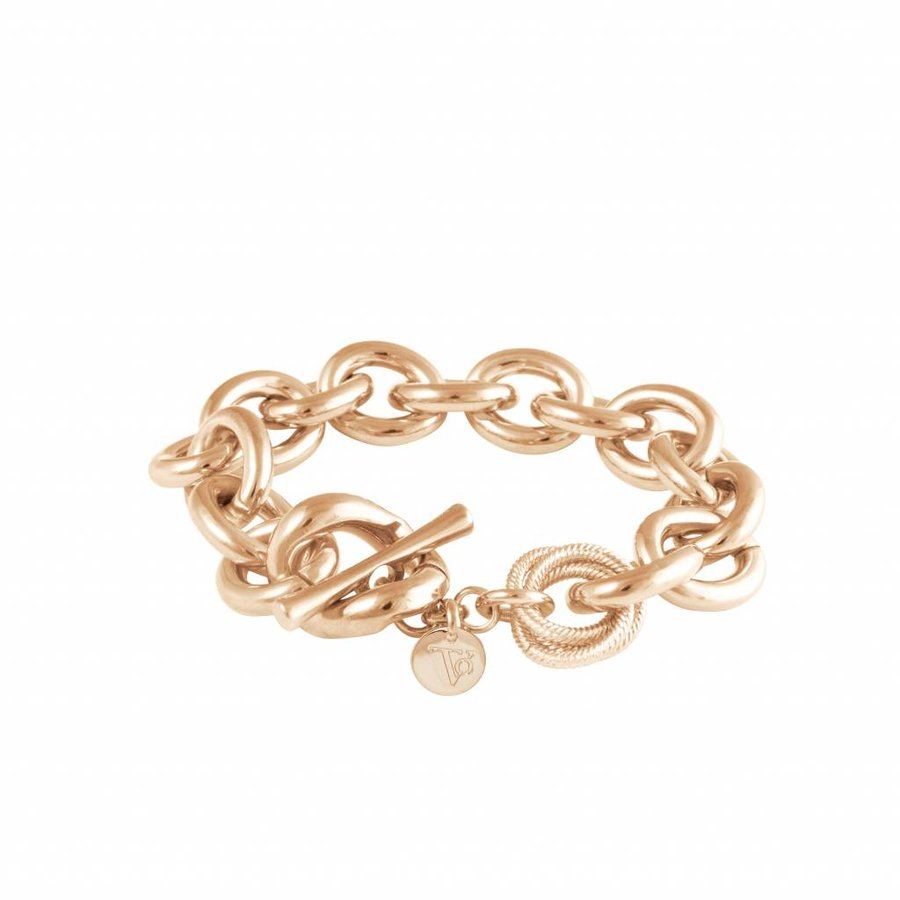 Small oval gourmet armband - Champagne goud