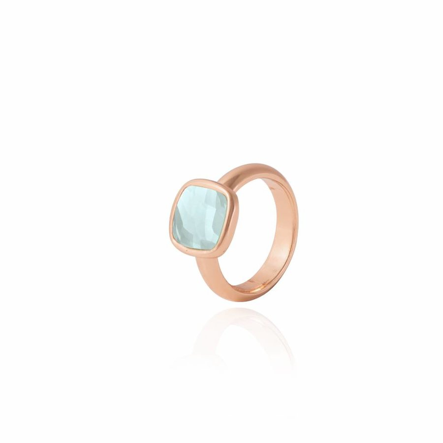 Quartz ring - Rose/ Aqua green
