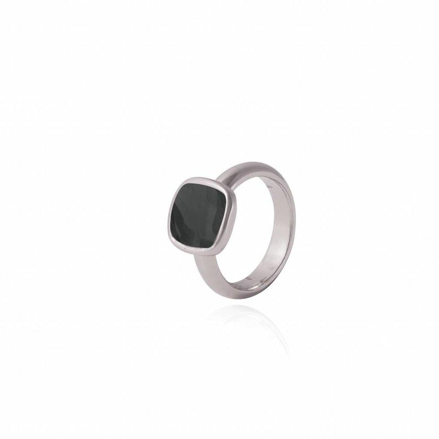 Quartz ring - Silver/ Onyx
