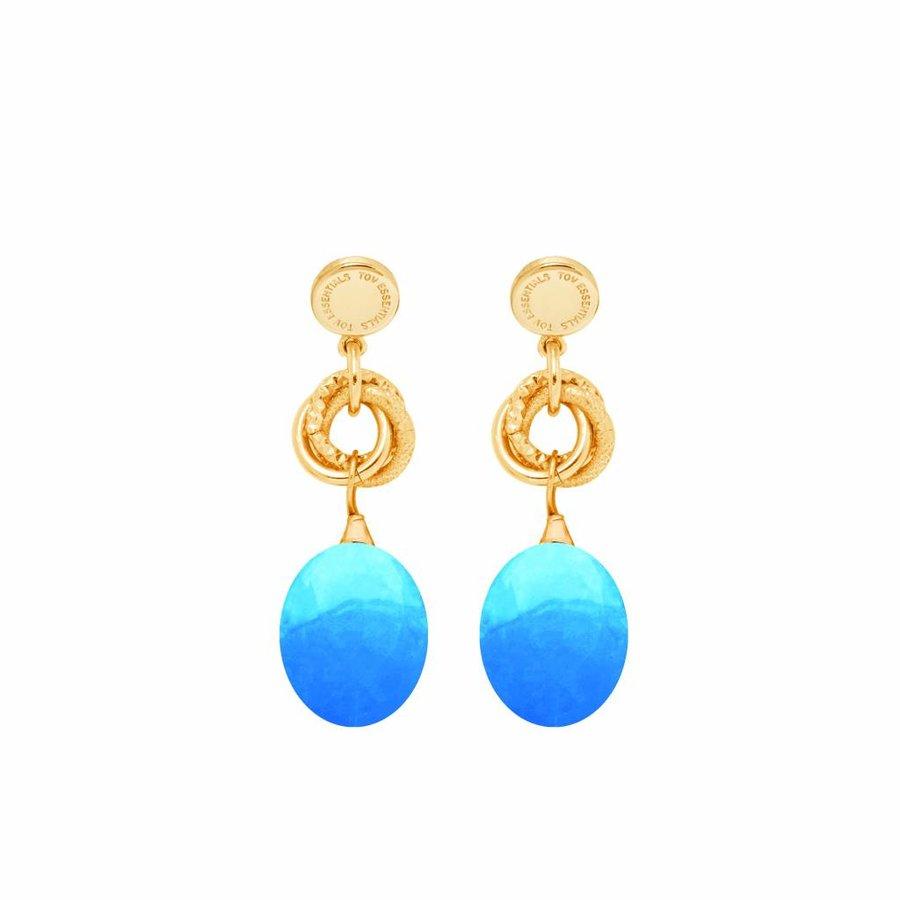 Big pure stone oorbellen - Gold/ Caribbean blue