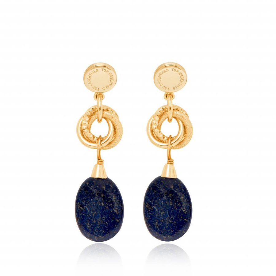 Big pure stone earring - Gold - Navy