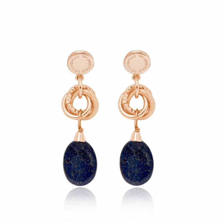 Pure stone oorbellen - Rose/ Navy