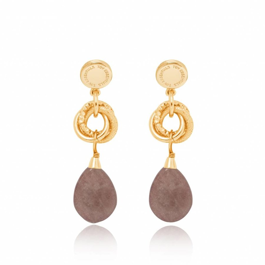 Pure stone earring - Gold - Taupe
