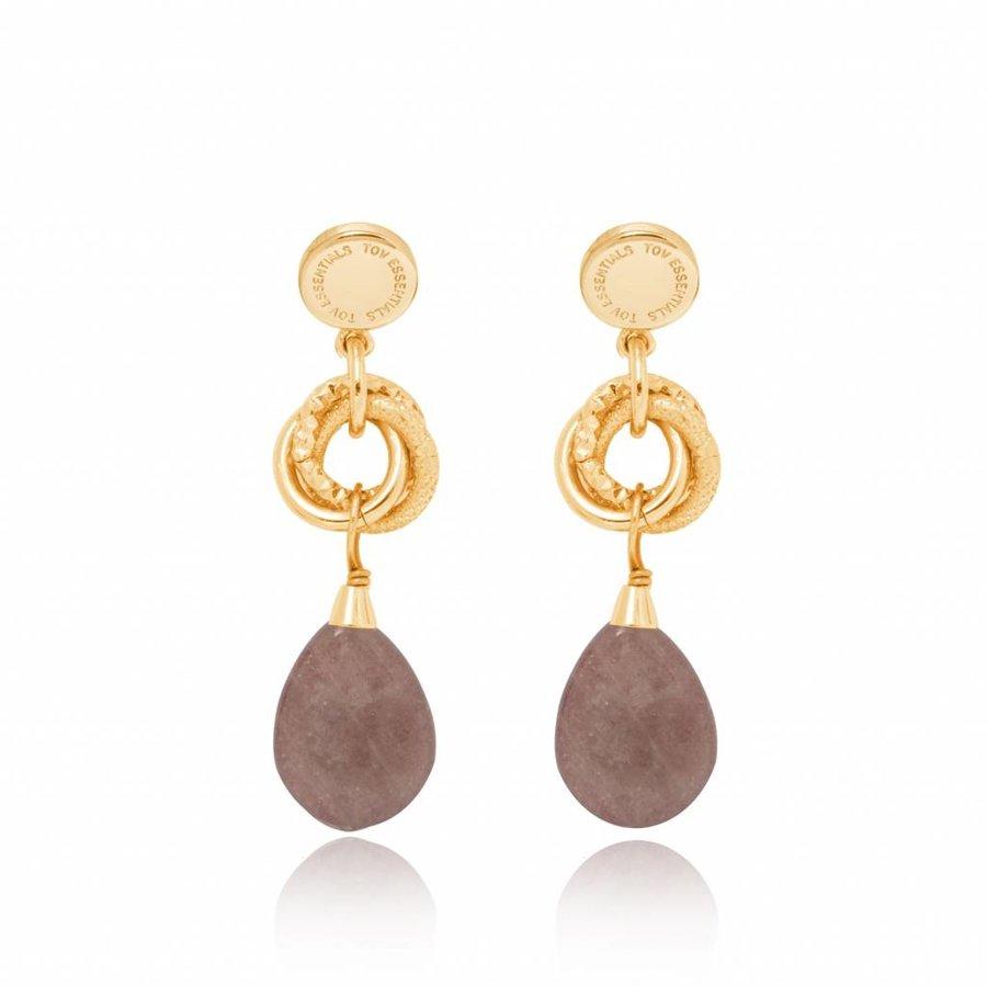 Pure stone oorbellen - Goud/ Taupe