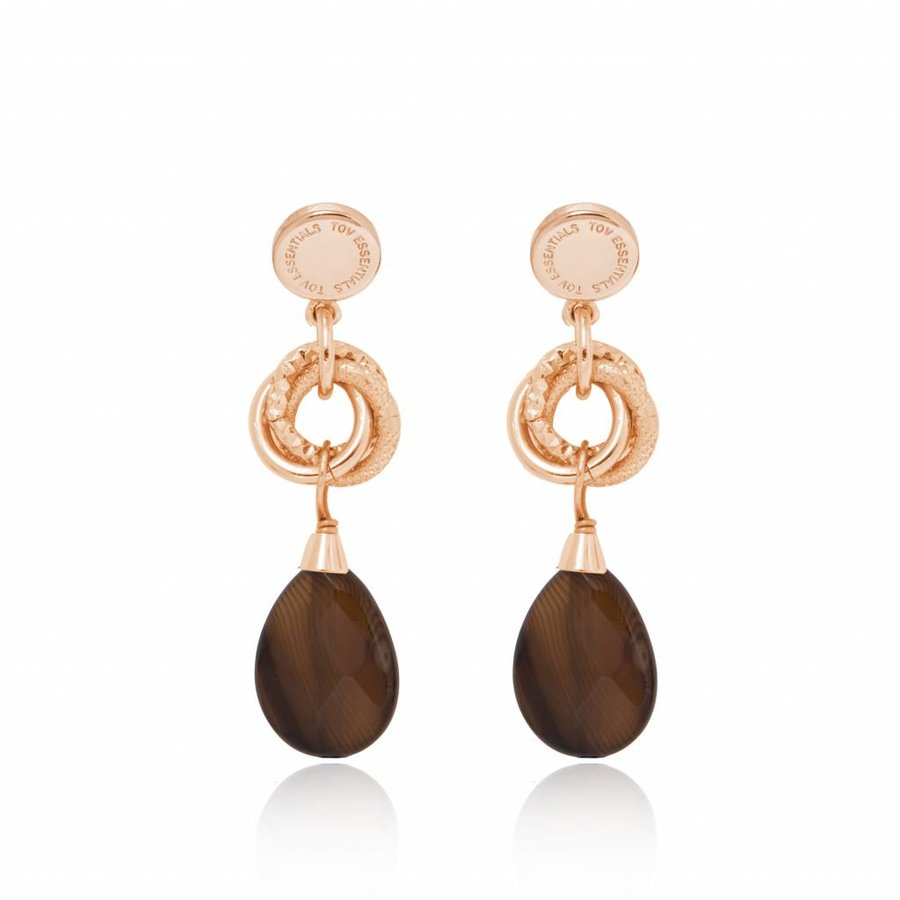 Pure stone earring - Rose/ Brown