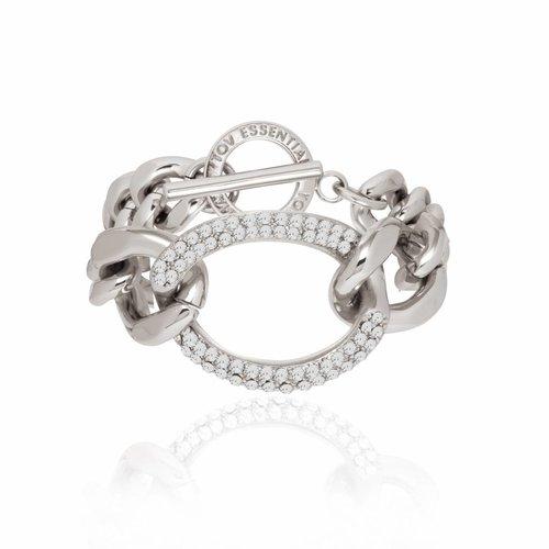 Starry lights flat chain armband- Zilver/ Zwart diamond