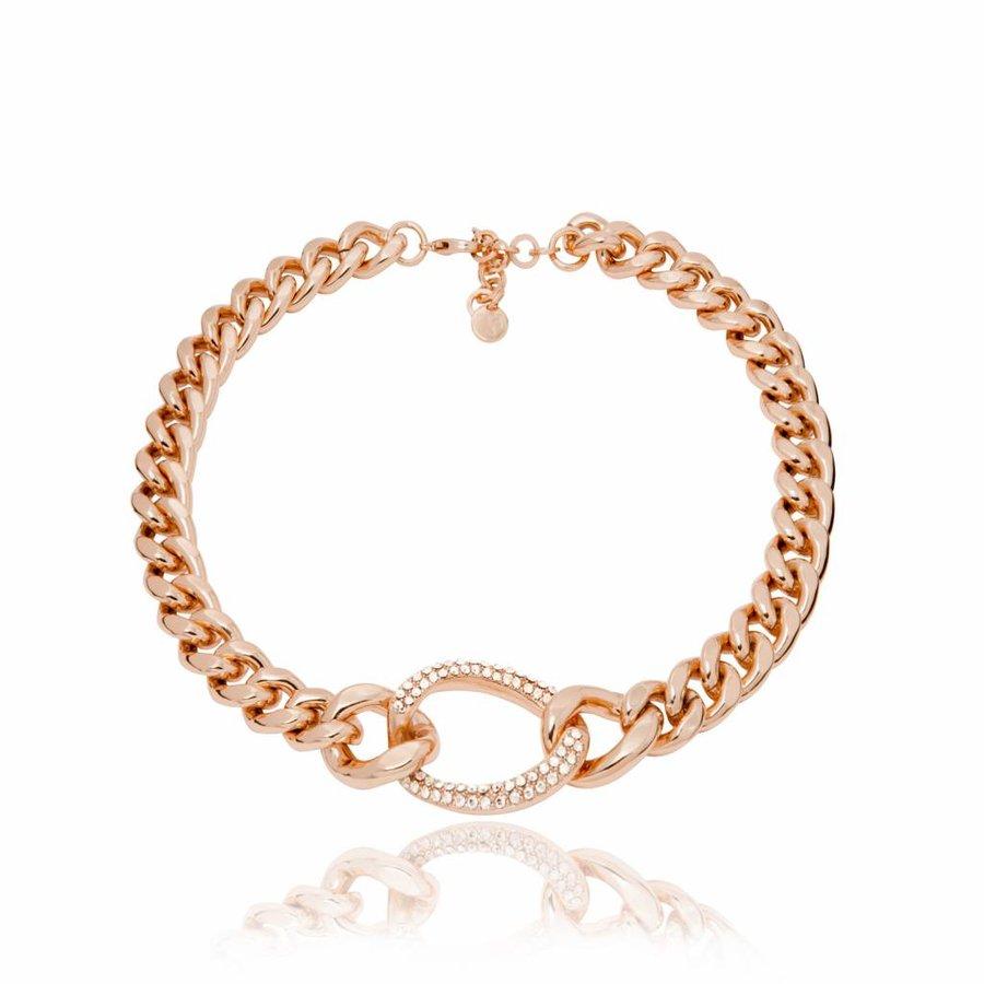 Starry light flat chain collier - Rose/ Golden shadow