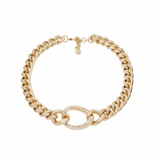 Starry light flat chain ketting - Champagne goud/ Crystal