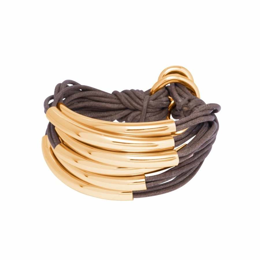 Big Lots of cord tube bracelet - Gold/ Taupe