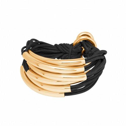 Big Lots of cord tube armband - Goud/ Zwart