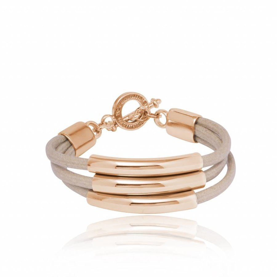 Three cord tube bracelet - Rose/ Natural