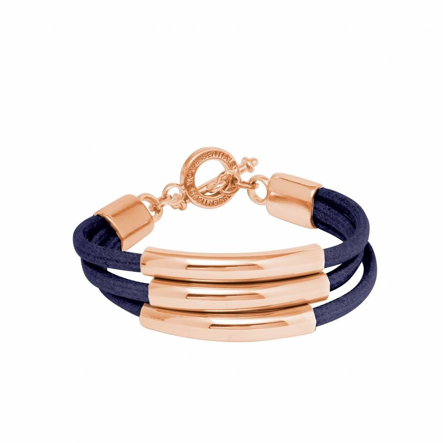 Three cord tube armband - Rose/ Navy