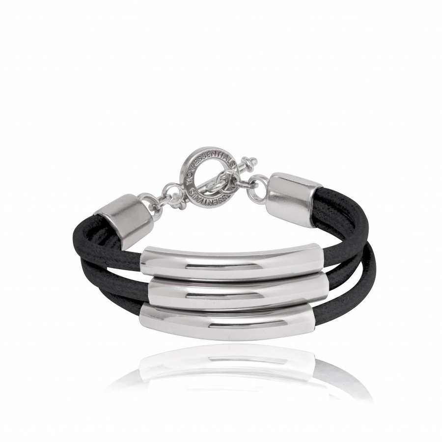 Three cord tube bracelet - White gold/ Black